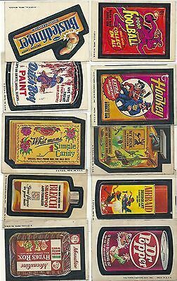 1970's mixed lot of (10) TOPPS WACKY PACKAGES - vg - BUSTEDFINGER, HOOKEY, ++