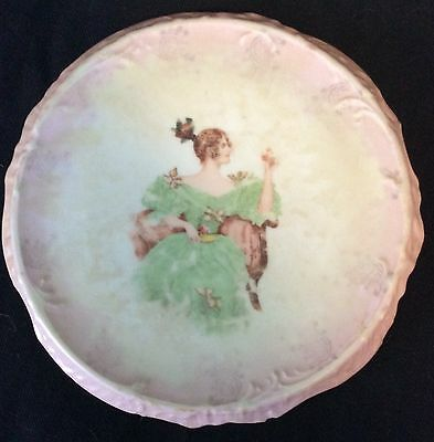 "Antique porcelain ceramic trivet 7"" diameter"