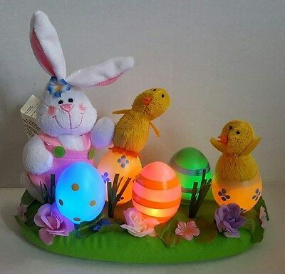 Light Up Easter Bunny, Chicks, and Colored Eggs Centerpiece From Avon