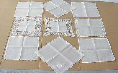 Lot 9 Vintage White Wedding Bridal Handkerchiefs Fine Lace Hand Embroidery