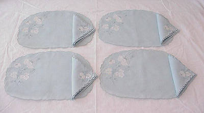 Vintage Blue Madeira Embroidery Floral Placemats Napkins Set