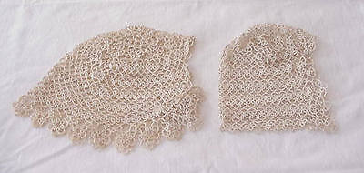 2 Antique Vintage Tatted Lace Baby Childs Bonnet Caps Christening. FREE SHIPPING