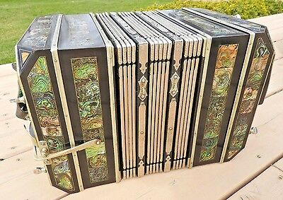 c.1890-1910 CONCERTINA BANDONEON C A WUNDERLICH GERMANY EXTREMELY ORNATE & NICE