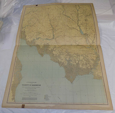 """1888 Topographical Map of New Jersey// VICINITY OF BRIDGETON // 27x36"""" // SCARCE"""
