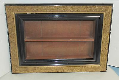 Antique Shadow Box Wall Shelf Wood Gold Hanging Curio