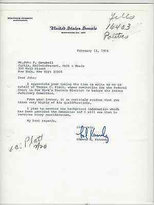 Ted (Edward) Kennedy Autograph On Typed Letter Dated Feb 13 1974