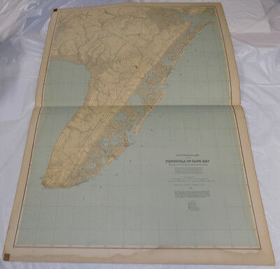 """1888 Topographical Map of New Jersey/// CAPE MAY PENINSULA /// 27x36"""" // SCARCE"""