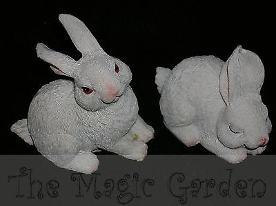 2 Cute easter bunny rabbit cement plaster latex moulds molds.