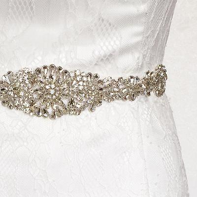 Vintage Crystal Rhinestone Sash Belt Beaded Bride Wedding Dress Gown Sash Belt