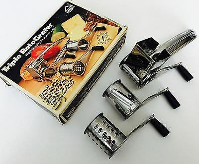 Triple Roto Grater by Hoan 3 Interchangeable Drums Safe Easy Left or Right Hand