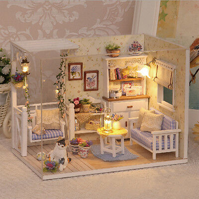 Doll House Furniture Kids Diy Miniature Dust Cover 3D Wooden Dollhouse Toys