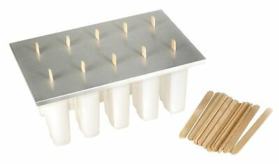 Fox Run Frozen Ice Pop Maker, 10 Molds, Aluminum Cover w/ Wooden Popsicle Sticks