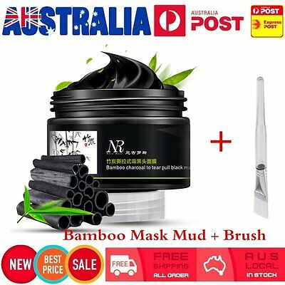 Bamboo Charcoal Blackhead Remover Deep Cleaning Peel Off Mud Face Mask + Brush @