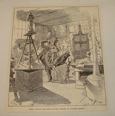 1893 magazine engraving ~ ERNEST RENAN SITTING FOR BUST, France