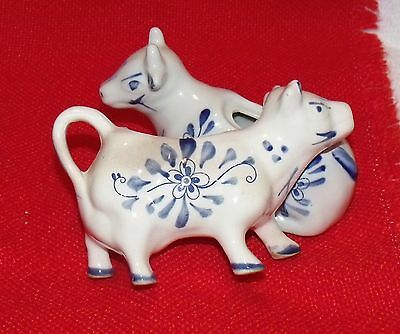 Vintage Cow Creamer & sugar Delft Blue Style Windmill and Flowers