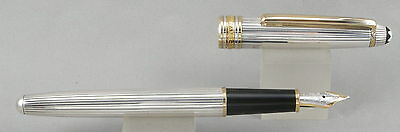 Montblanc 144SP Sterling Silver & Gold Fountain Pen - Medium Oblique Nib - 1990s