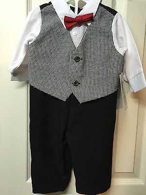 Boys Suit 3/6 Months Infant  Black White Check Jumpsuit Outfit Wedding Easter
