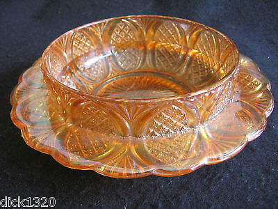 VINTAGE CARNIVAL GLASS RIMMED CHERRY DISH DIAMOND ARCHES MARIGOLD c.30's EX