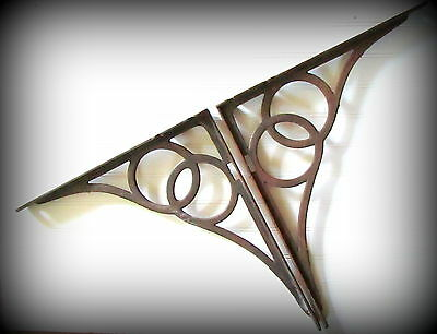 Antique Architectural Industrial Extra Large Cast Iron Shelf Brackets