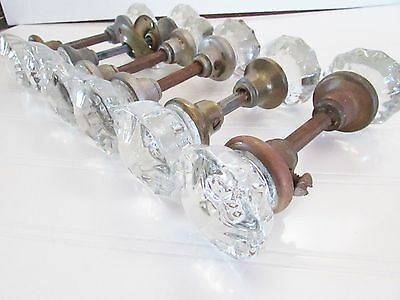 6 BEAUTIFUL VINTAGE Art Nouveau GLASS KNOBS - 6 SETS     PRICE TO SELL!