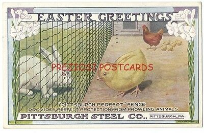 PITTSBURGH STEEL FENCE Keeps RABBIT From CHICK - 1918 EASTER GREETINGS Ad RARE!