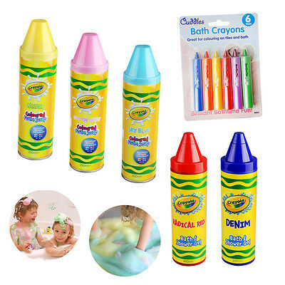 Kids Soap Bath Shower Gel Foam Hair Crayola Coloured Crayons Safe Bathtime Fun