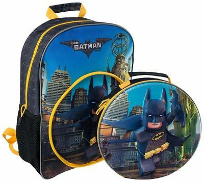 The Lego Batman Move 3D Kids Large Backpack With Detachable Lunch Bag 8345 New