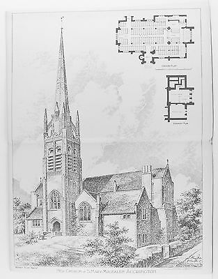 OLD ANTIQUE PRINT ACCRINGTON ST MARY MAGDALEN CHURCH PLAN c1899 ARCHITECT H ROSS