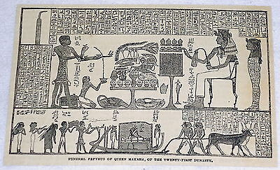 1882 magazine engraving ~ FUNERAL PAPYRUS OF QUEEN MAKARA, Egypt
