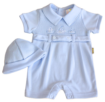Romper suit hat baby boy nautical sailor BLUE