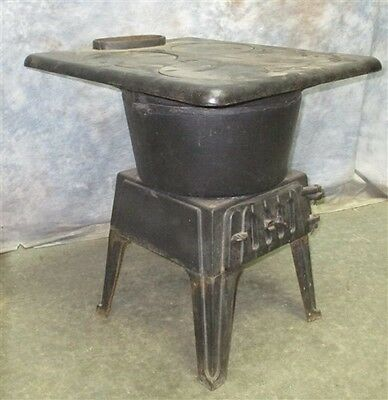 Morning Stove Wood Cast Iron Parlor Pot Belly Vintage Room Heater Kitchen Cook