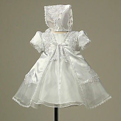 Beautiful lace organza satin toddler baby white christening dress with cape