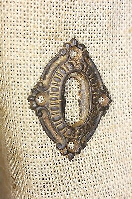 Door Keyhole Lock Escutcheon Plate old Victorian heavy cast iron skeleton