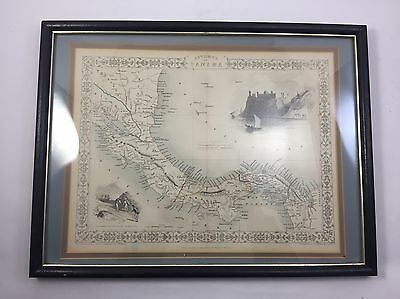 ISTHMUS OF PANAMA FRAMED MAP 1851 Engraved J RAPKIN John Tallis London New York