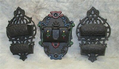 Lot 3 Cast Iron Art Wilton Wall Mount Match Box Safe Holders Sign Vintage