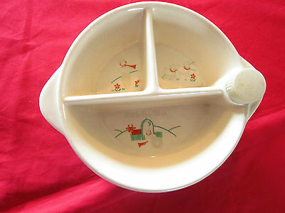 Vjintage EXCELLO divided thermal baby dish-3 section bowl,cork,bakelite top