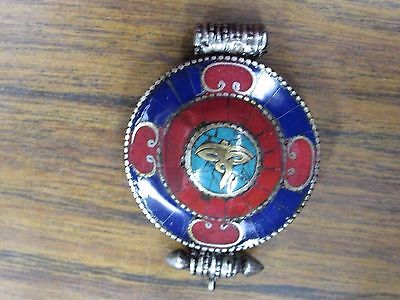 Vintage Small Red & Blue Chinese Round Metal Pendant Amulet Locket
