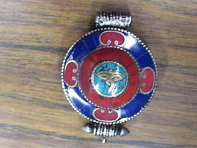 Vintage Small Red & Blue Tibetan Gau Ghau Prayer Box Pendant Amulet Locket