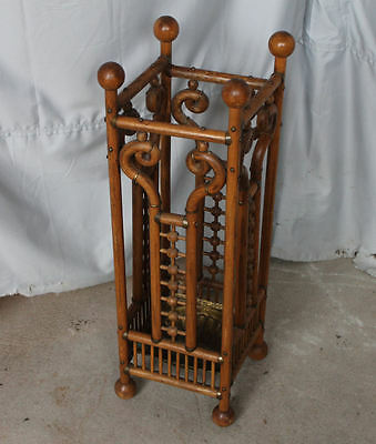 Antique Victorian Oak Stick and Ball Umbrella Stand – 1892