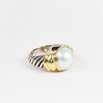 "David Yurman Sterling Silver 14K Yellow Gold Pearl Cable ""Albion"" Ring SZ 6.5"
