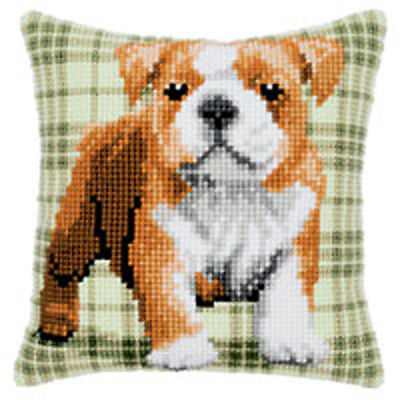 "Bulldog Chunky Cross stitch cushion front kit 16x16"" tapestry canvas 4.5hpi"