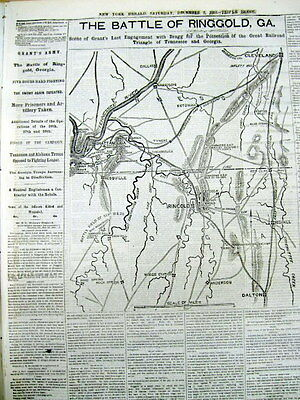 <1863 display newspaper w LG Map BATTLE OF RINGGOLD Georgia CHATTANOOGA CAMPAIGN