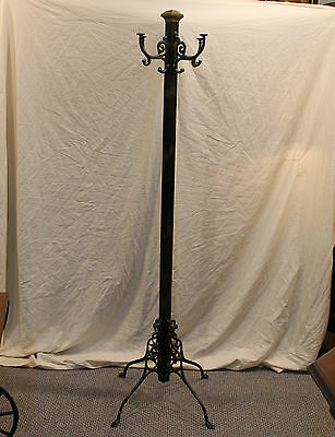 Antique Brass & Cast Self Standing Iron Hall Tree - Coat and Hat Hooks