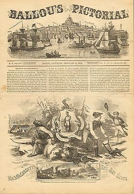 Massachusetts, The Bay State, History, State Seal, Vintage 1856 Antique Print