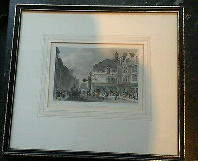 Antique print London Fleet street by Thomas H. Shepherd, mounted and framed
