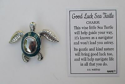 bb Turquoise or blue Good Luck Sea Turtle Pocket token charm figurine Ganz