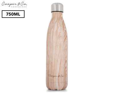 Cooper & Co. Insulated Water Bottle 750mL - Wood/Matte Finish