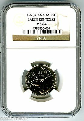 1978 Canada 25 Cent Ngc Ms64 Large Denticles Quarter Rare Uncirculated