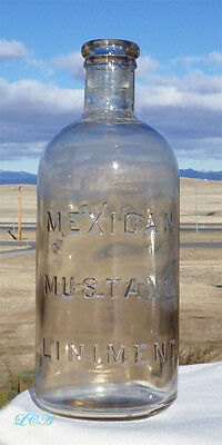 Super LARGE SIZE antique MEXICAN MUSTANG liniment VETERINARY bottle