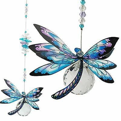 DRAGONFLY SUNCATCHER CRYSTAL GIFT, feng shui window hanging rainbow prism blue